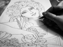 Flower Power, botanical babe I drew today